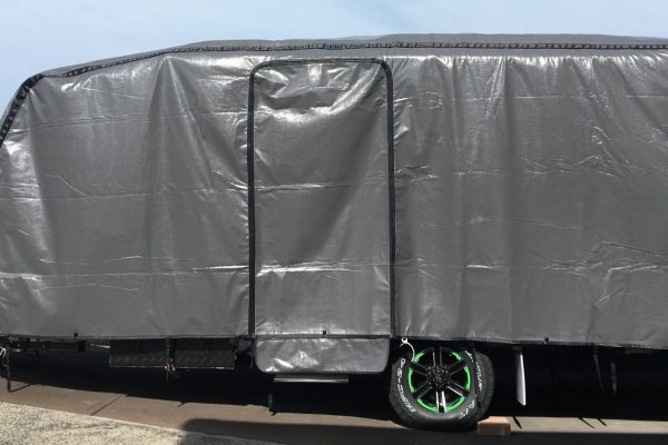 Colour Charcoal, with Zip Out Access Door and separate Drawbar and Hitch Cover