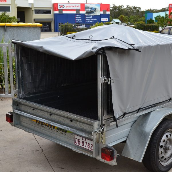 Made to Order Cage Trailer Covers Bunji Loop style with rear access