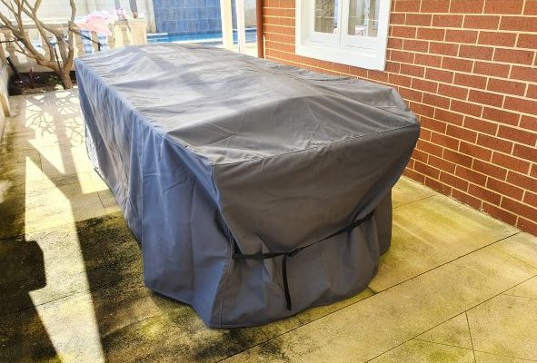 Photo of large dinning table and chair cover in Sattler Marine Excel Charcoal